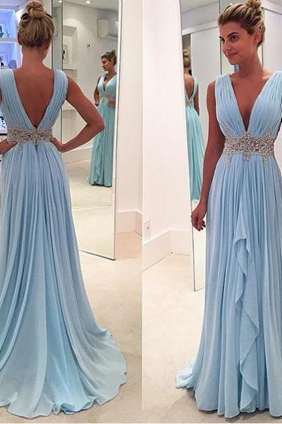 Blue Ruffled Appliques V-Neck Sleeveless Chiffon Prom Dresses 2017