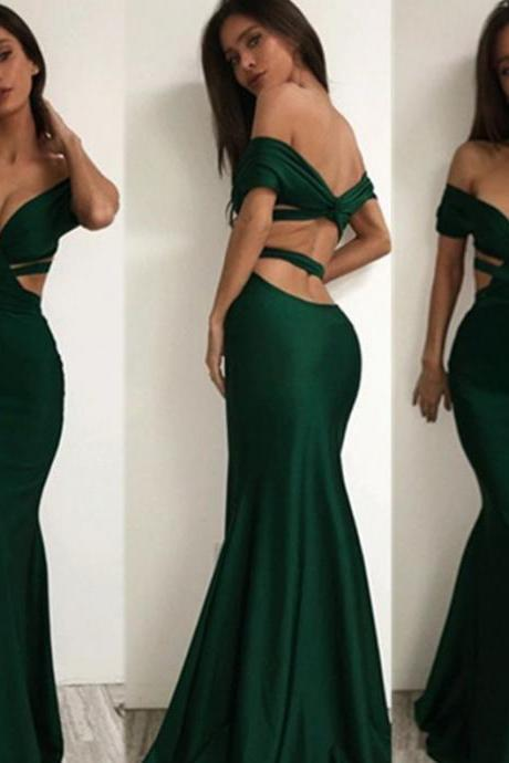 Green Off-the-Shoulder Backless Trumpet/Mermaid Prom Dresses 2017