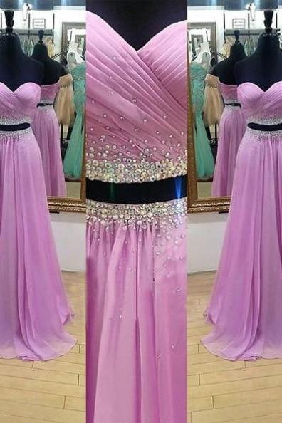 Sexy A-line Two Pieces Chiffon Prom Dresses 2017