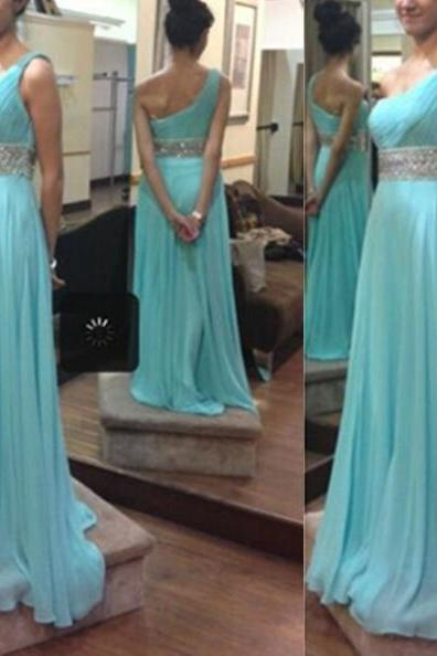 Sheath/Column One Shoulder Sleeveless Floor-Length Chiffon Prom Dresses 2017