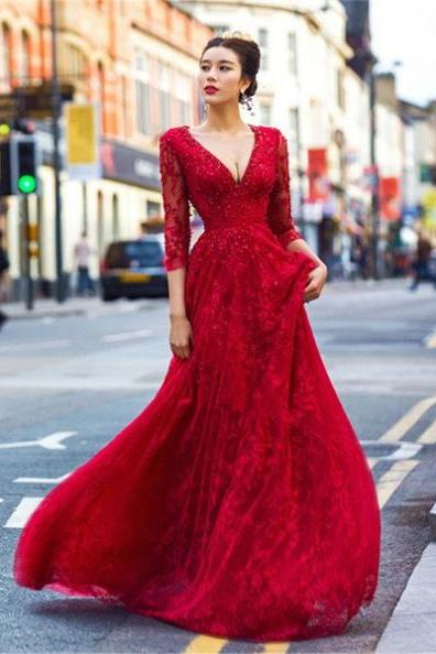 Red Beautiful Deep V-Neck Backless Lace Prom Dresses 2017