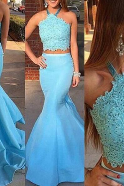Blue Appliques Halter Backless Mermaid Two Pieces Satin Prom Dresses 2017