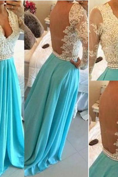 Blue Long A-line Beading Floor-length Chiffon Prom Dresses 2017