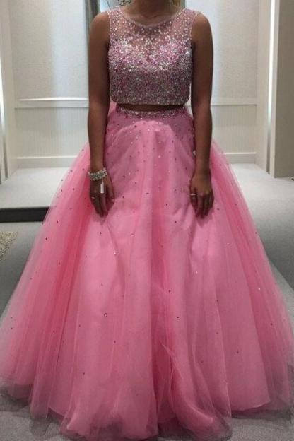 Beading Ball Gown Tulle Two Pieces Prom Dresses 2017