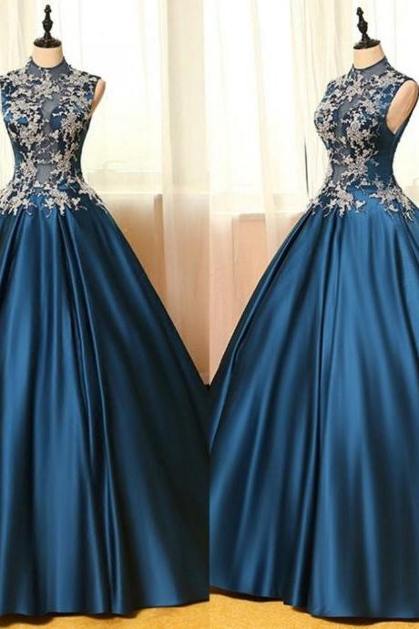 Blue Appliques Ball Gown Satin Prom Dresses 2017