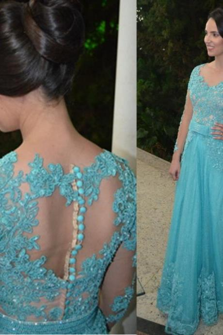 Blue Long Sleeves Appliques Natural Floor-length A-line Tulle Prom Dresses 2017