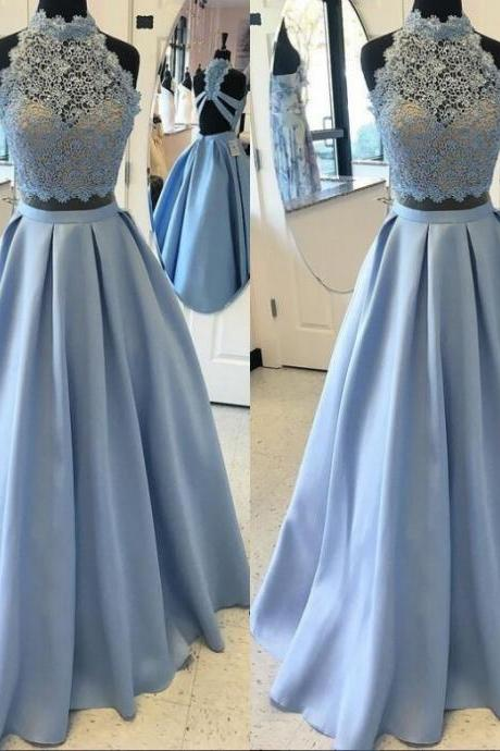 Lace A-line Satin Two Pieces Prom Dresses 2017