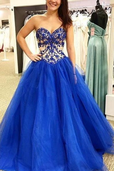 Blue Prom Dresses 2017 Sweetheart Appliques A-line Tulle