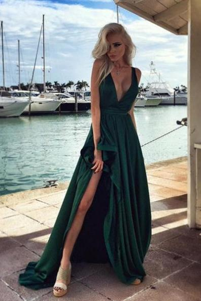Sexy V-Neck Split Front Sweep Train Chiffon Prom Dresses 2017