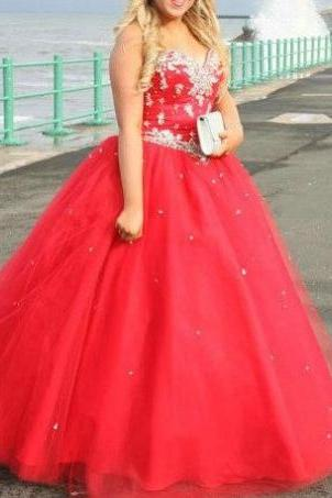 Red Appliques Sweetheart Ball Gown Tulle Prom Dresses 2017