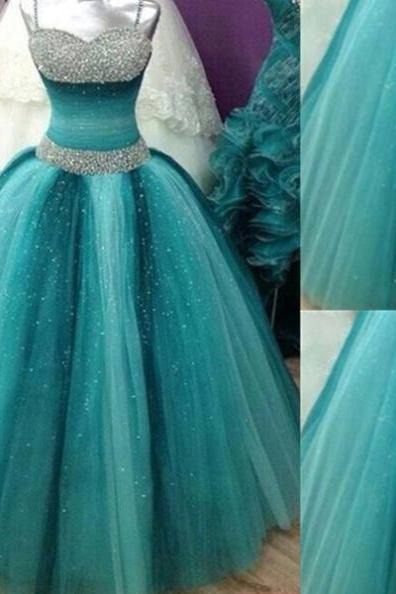 Crystal Detailing Spaghetti Straps Ball Gown Tulle Prom Dresses 2017