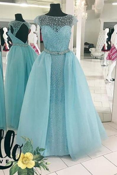 Blue Delicate Crystal Detailing Ball Gown Tulle Prom Dresses 2017