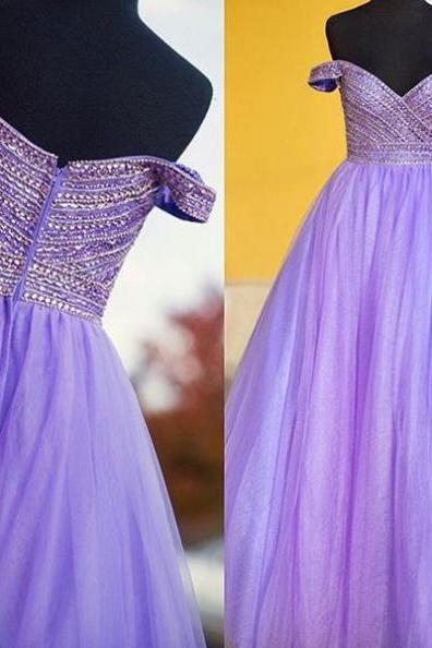 Beading Off-the-Shoulder Tulle Prom Dresses 2017