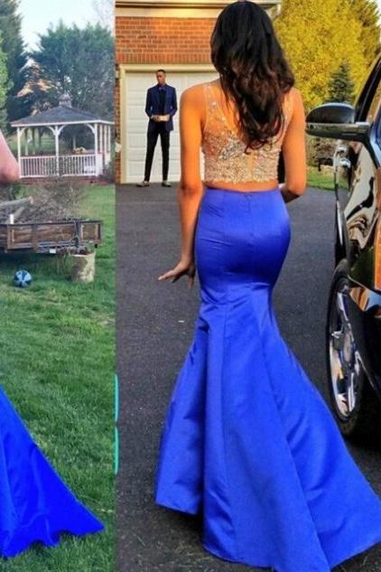 Blue Beading Mermaid Satin Two Pieces Prom Dresses 2017