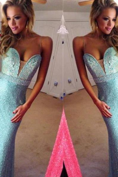 Blue Mermaid Spaghetti Straps Floor-Length Appliques Sequins Prom Dresses 2017