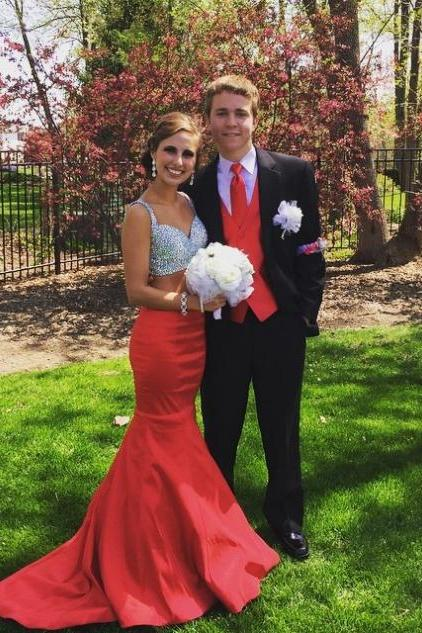 Red Sequins Mermaid Satin Two Pieces Prom Dresses 2017