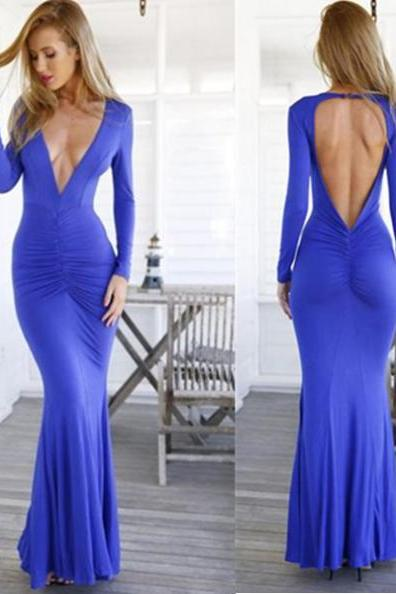 Blue Long Trumpet/Mermaid V-Neck Spandex Prom Dresses 2017