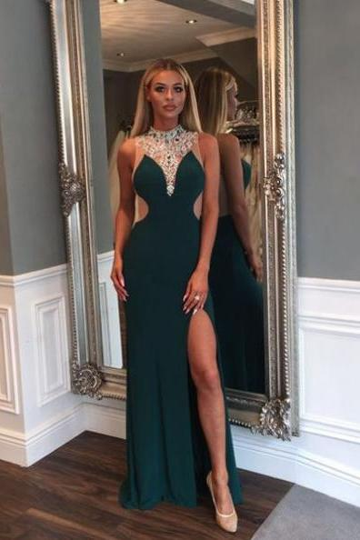 Gorgeous Crystal High-Neck Front-Split Sheer Back Prom Dresses 2017