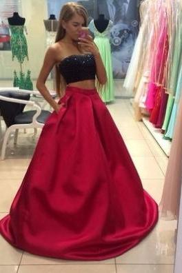 Red Beading Strapless Floor-length A-line Satin Prom Dresses 2017