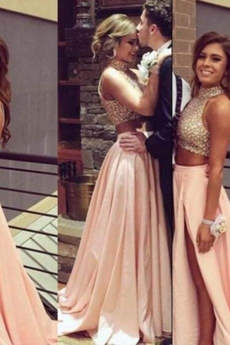 Beading Halter A-line Satin Two Pieces Prom Dresses 2017