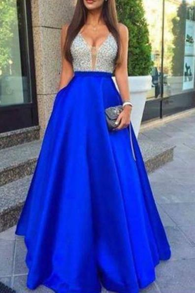 Blue A-Line V-Neck Sleeveless Natural Zipper Floor-Length Satin Prom Dresses 2017
