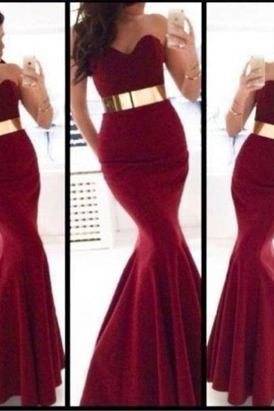 Red Belted Sweetheart Mermaid Satin Prom Dresses 2017