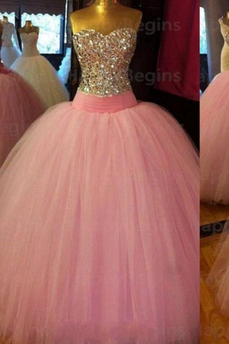 Beading Sweetheart Ball Gown Tulle Prom Dresses 2017