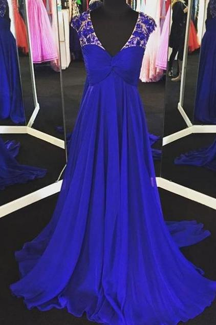 Blue Appliques V-Neck Sweep Train A-line Chiffon Prom Dresses 2017