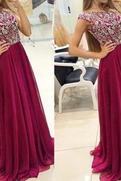 Red Cheap Prom Dresses 2017 Sweep/Brush Train Sequins Chiffon