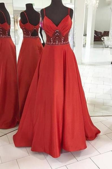Red Prom Dresses 2017 Spaghetti Straps Crystal A-line Satin