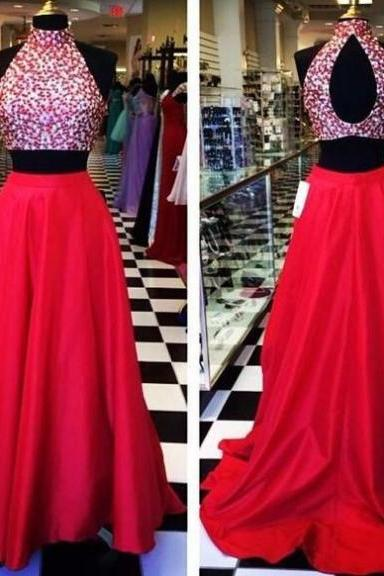 Red Long A-Line High Neck Two Pieces Satin Prom Dresses 2017