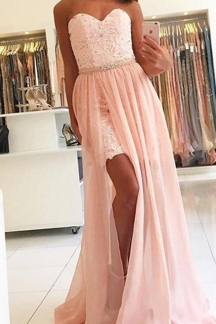 Sexy High Split A-line Lace Prom Dresses 2017