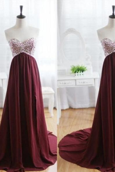 Long Sweetheart A-Line Chiffon Prom Dresses 2017