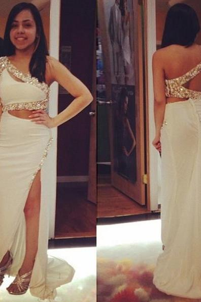 White One Shoulder Beading Split Front Chiffon Prom Dresses 2017