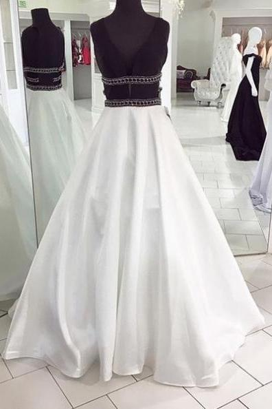 White V-Neck Beading Floor-length A-line Satin Prom Dresses 2017