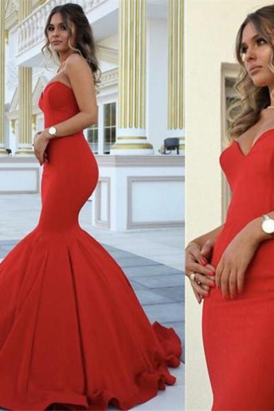 Red Chic Sweetheart Mermaid Satin Prom Dresses 2017