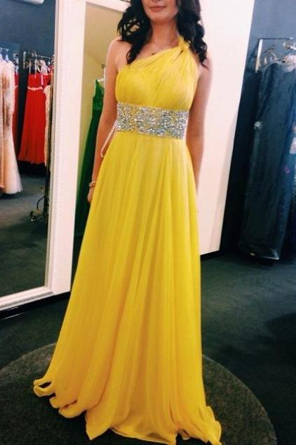 One Shoulder A-line Chiffon Prom Dresses 2017