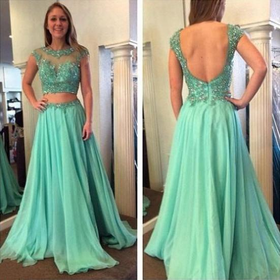 Cap Sleeves Formal Dress Round Floor-length Chiffon Sequin Backless Custom Made A-line Dress