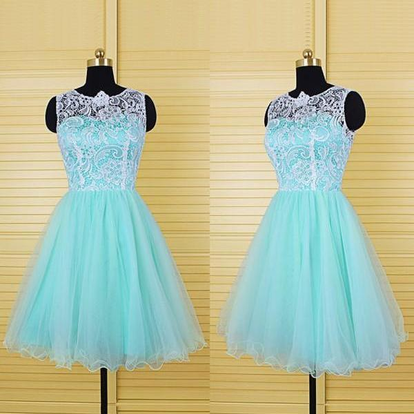 Aline Blue Homecoming Dresses Zipper-Up Sleeveless Lace O-neck Above-Knee Homecoming Dress