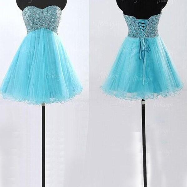A-Line/Column Blue Homecoming Dresses Laced Up Sleeveless Bandage Sweetheart Neckline Above-Knee Homecoming Dress