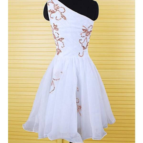 Aline White Homecoming Dresses Zipper-Up Sleeveless Embroidered One shoulder Short Homecoming Dress