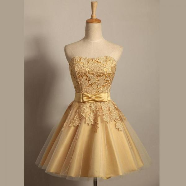 A lines Golden Homecoming Dresses Zippers Sleeveless Bows Strapless Above Knee Homecoming Dress