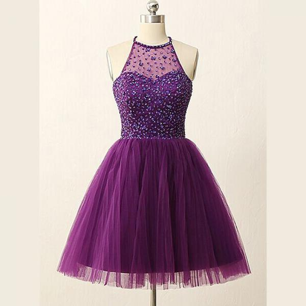 A-Line/Column Purple Homecoming Dresses Zipper-Up Sleeveless Rhinestone Haltered Above-Knee Homecoming Dress