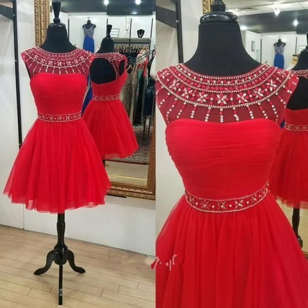 Ball Gowns Red Homecoming Dresses Hollow Sleeveless Beaded Scoop Mini Homecoming Dress