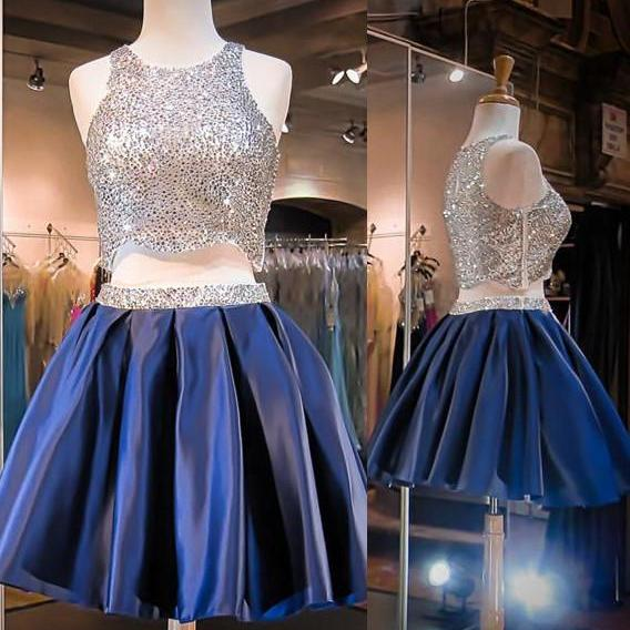 A lines Dark Blue Homecoming Dresses Side-Zipper Sleeveless Sequins Jewels Mini Homecoming Dress