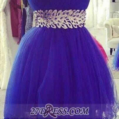 A lines Royal Blue Homecoming Dresses Zipper-Up Sleeveless Crystal Detailing Sweetheart Neckline Above Knee Homecoming Dress