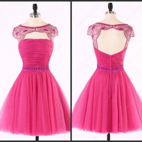 Aline Pink Homecoming Dresses Sheer Back Capped Sleeves Tulle Round Neck Above-Knee Homecoming Dress