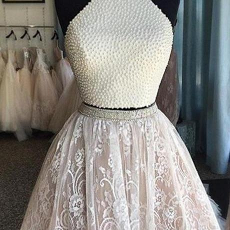A lines White Homecoming Dresses Sheer Back Sleeveless Lace Haltered Above Knee Homecoming Dress
