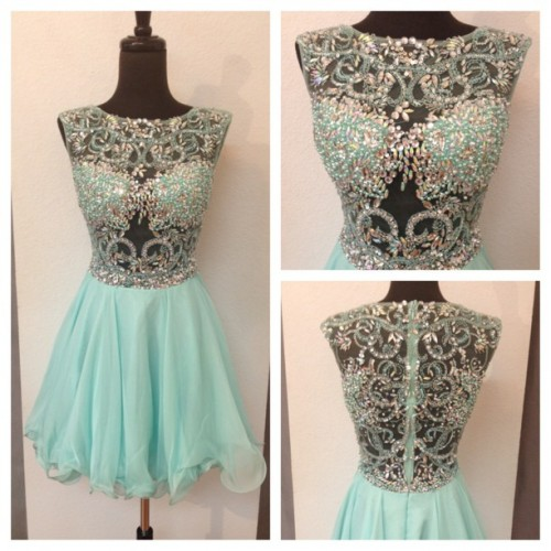 split Mint Homecoming Dresses Zippers Sleeveless Beaded Jewels Mini Homecoming Dress