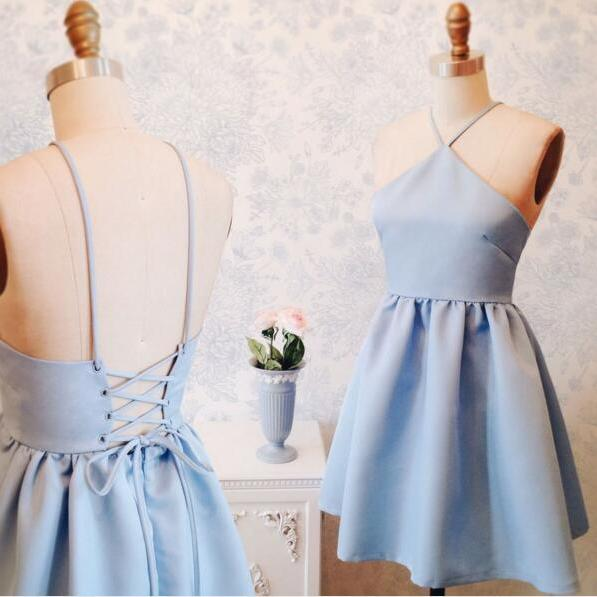 split Sky Blue Homecoming Dresses Laced Up Spaghetti Strap Bandage Haltered Knee-length Homecoming Dress